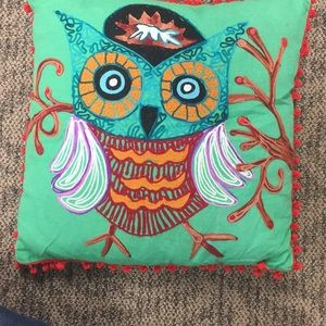 Karma Living  Embroidered Owl Pillow